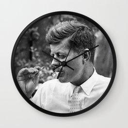 John F Kennedy Smoking Marijuana Wall Clock