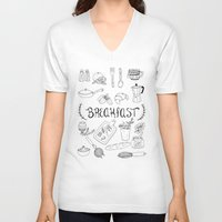 breakfast V-neck T-shirts featuring Breakfast by Brooke Weeber