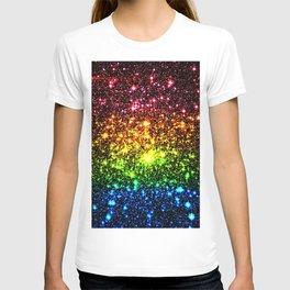 Rainbow Sparkle Galaxy Stars T-shirt