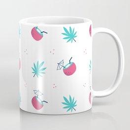 Cute trendy pink teal tropical summer drink floral pattern Coffee Mug