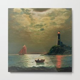 A New England Lighthouse Under the Silver Moon by James Gale Tyler Metal Print