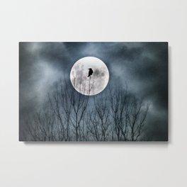 Night Raven Lit By The Full Moon Metal Print
