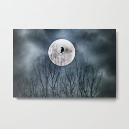 Night Raven Lit By The Full Moon Metal Print