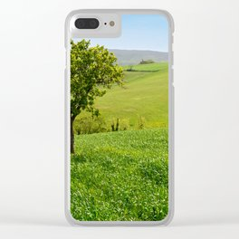 Beautiful spring landscape with tree on foreground in Tuscany countryside, Italy Clear iPhone Case