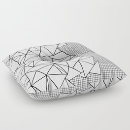 Abstraction Outline Grid on Side White Floor Pillow