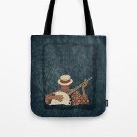 banjo Tote Bags featuring Banjo by Aquamarine Studio