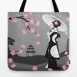 Japanese Geisha under Cherry Blossoms Tote Bag