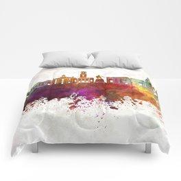 Aberdeen skyline in watercolor background Comforters