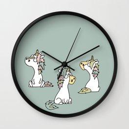 Little unicorn with friends - pastel blue Wall Clock