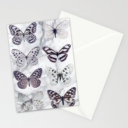 Black and white marble butterflies Stationery Cards
