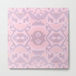 Geometric Aztec in Muted Pink Metal Print