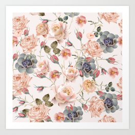 Beautiful floral vintage pattern with pastel pink and beige rose flowers Art Print