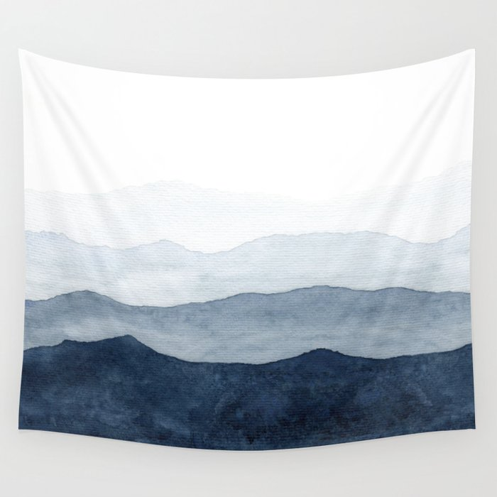 Indigo Abstract Watercolor Mountains Wandbehang