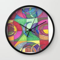 stained glass Wall Clocks featuring Stained Glass by SaraLaMotheArt
