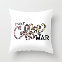 Coffee Not War (Sunset) Throw Pillow