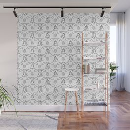 Easter bunnies and eggs pattern Wall Mural