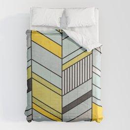 Colorful Concrete Chevron Pattern - Yellow, Blue, Grey Comforters