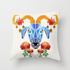 chinese goat Throw Pillow