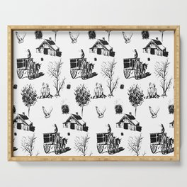 Hand Drawn Pattern Vintage Cottage Farmer Life Serving Tray
