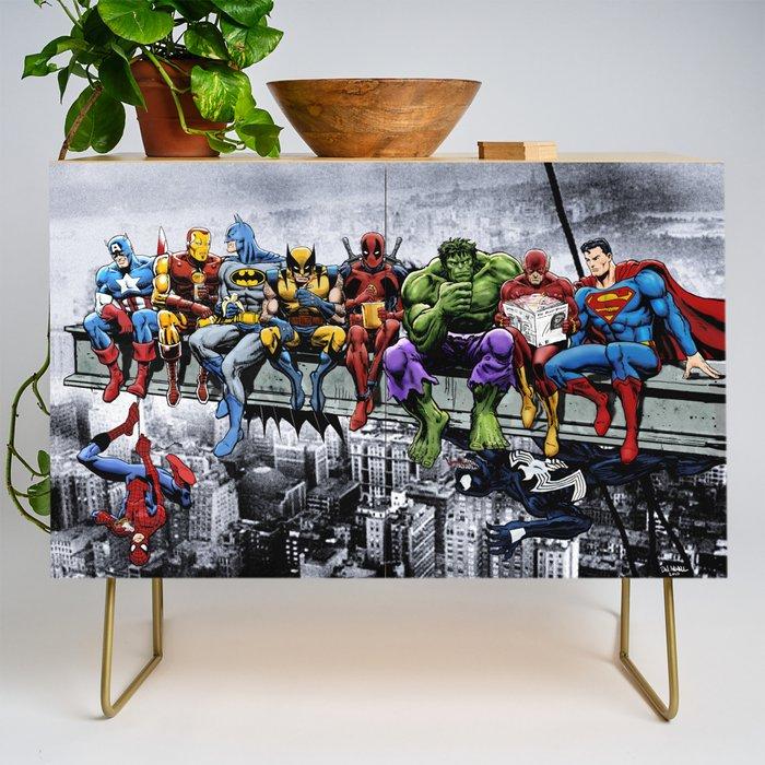 Superhero_Lunch_Atop_A_Skyscraper_Credenza_by_AvenellDesigns__The_Art_Of_Dan_Avenell__Gold__Birch