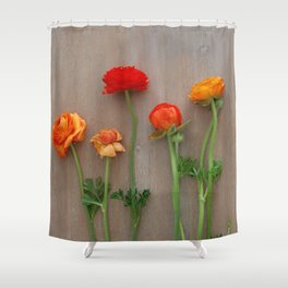 Orange Ranunculus flowers Shower Curtain