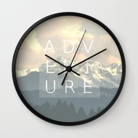 adventure is out there Wall Clocks featuring ADVENTURE by SUNLIGHT STUDIOS  Monika Strigel