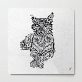 Zentangle Cat Metal Print