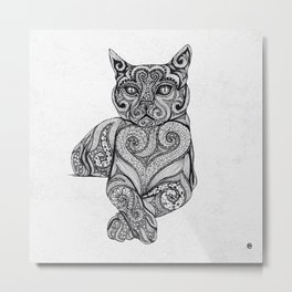Zentangle Cat Metal Print
