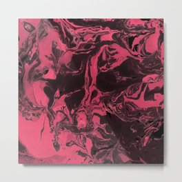 Pink and black  Marble texture painting art Metal Print