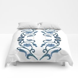 Blue Paisley Double Heart 1 Comforters