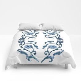 Blue Paisley Double Heart 1 Comforters