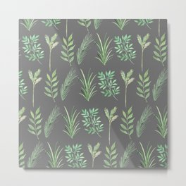 Bouquet of branches and leaves pattern,  Dark Gray background Metal Print