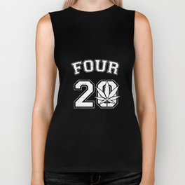Four Pot Leaf Weed Marijuana Ganja High Toke Smoke Puff Mens weed Biker Tank