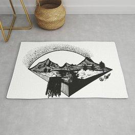 """Big Sun Pass"" Original Mountains Art, Mountain Decor, Rustic Gift Rug"