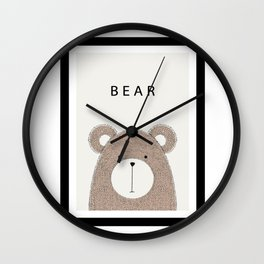 Cute hand drawn bear design Wall Clock