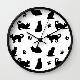 Black Cats and Paw Prints Pattern Wall Clock