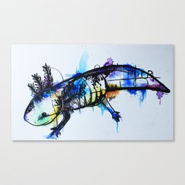 Rainbow Splash Axolotl Watercolour Canvas Print