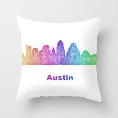 Rainbow Austin skyline Throw Pillow