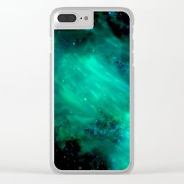 Teal Blue Indigo Sky, Stars, Space, Universe, Photography Clear iPhone Case