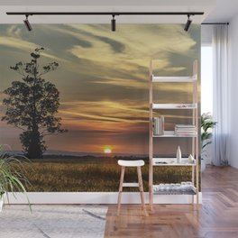 Sunset over farmers cornfield on a hot, summers evening. Wall Mural