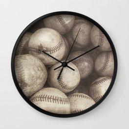 Bucket of Old Baseballs in Sepia Wall Clock