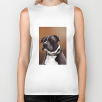 bull terrier Biker Tanks featuring Staffordshire bull terrier 2 by Carl Conway