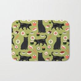 Black cat sushi cat breeds cat lover pattern art print cat lady must have Bath Mat