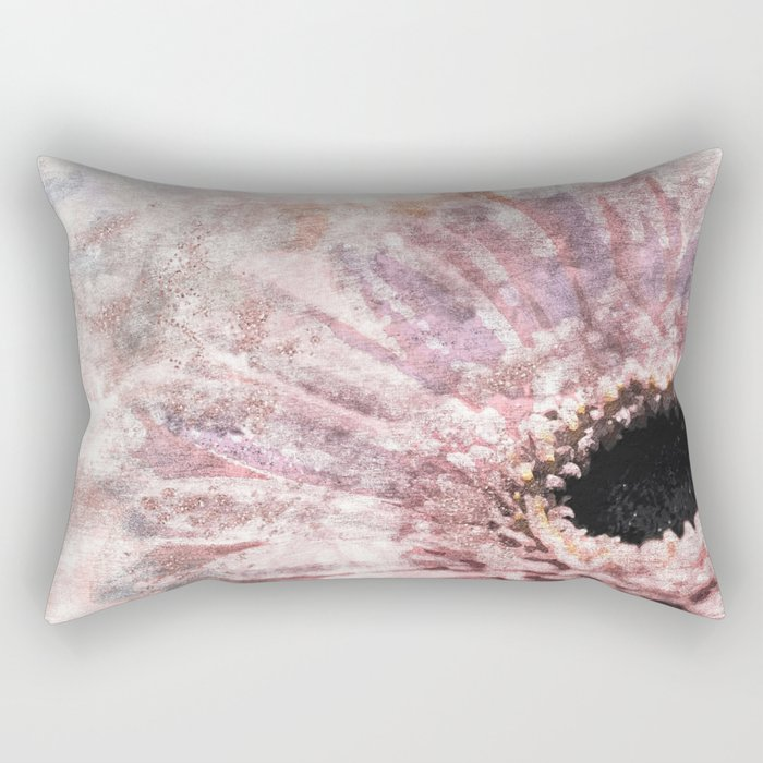 Pink glitter daisy- Flower watercolor illustration Rectangular Pillow