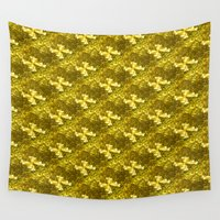 bows Wall Tapestries featuring Golden Bows  by Elena Indolfi