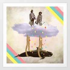 couple who travels on a cloud with a whale  Art Print