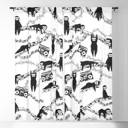 Eighties Music Sloth Pattern Blackout Curtain