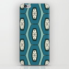 Midcentury Funky Chain Pattern Turquoise Teal iPhone Skin