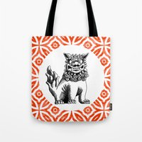 foo fighters Tote Bags featuring Red Foo by MY  HOME