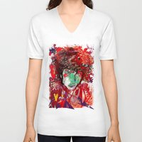 bob dylan V-neck T-shirts featuring Bob Dylan by Irmak Akcadogan